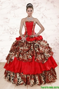 Print Leopard Multi-color 2015 Quinceanera Dresses with Strapless