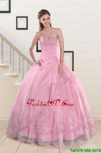 Beading and Appliques Pretty Baby Pink Quinceanera Dresses for 2015