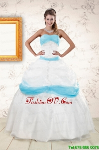 Pretty White and Baby Blue Ball Gown Quinceanera Dress for 2015