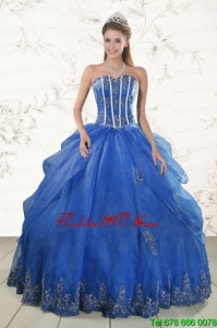 2015 Cheap Appliques Sweet Sixteen Dresses in Royal Blue