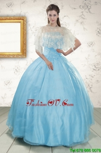 2015 Discount Baby Blue Strapless Sweet Sixteen Dresses with Beading
