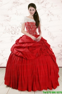 2015 Discount Sweetheart Beading Sweet Sixteen Dresses in Red