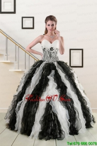 2015 Pretty Black and White Quinceanera Dresses with Zebra and Ruffles