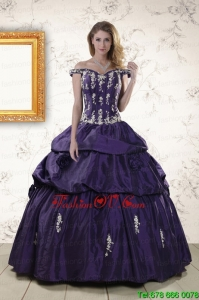 2015 Pretty Off The Shoulder Appliques Quinceanera Dresses in Purple