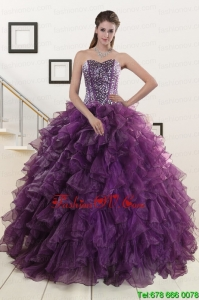 2015 Pretty Purple Quinceanera Dresses with Beading and Ruffles