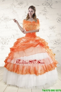 2015 Pretty Strapless Orange Quinceanera Dresses with Beading and Appliques