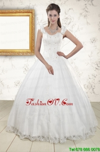 2015 Pretty Straps Quinceanera Dresses with Appliques and Beading