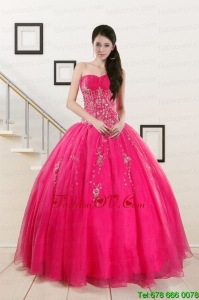 2015 Pretty Sweetheart Hot Pink Sweet Sixteen Dresses with Beading
