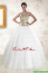 2015 Pretty Tulle Strapless Sequins White Quinceanera Dresses