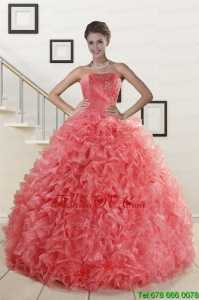 2015 Pretty Watermelon Red Sweet 15 Dress with Beading