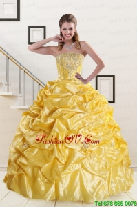 Beading Strapless Sweet Sixteen Dresses with Sweep Train