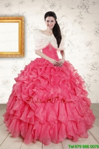 Beading and Ruffles 2015 Hot Pink Sweet Sixteen Dresses with Strapless