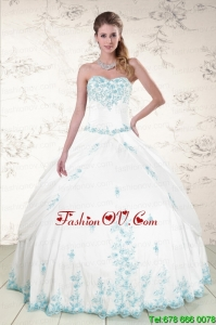 Modest Appliques 2015 Sweet Sixteen Dresses in White