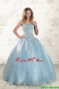 New Style 2015 Beading Sweet Sixteen Dresses with Strapless
