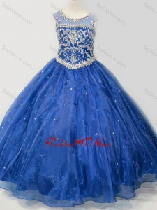 New Style Beaded Bodice Open Back Little Girl Pageant Dress in Royal Blue