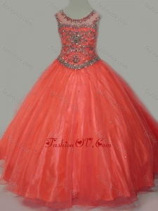New Style Beaded Bodice Orange Little Girl Pageant Dress with Open Back
