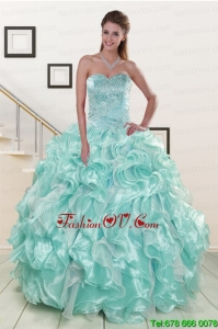 Pretty Beading Sweet 16 Dresses in Apple Green for 2015