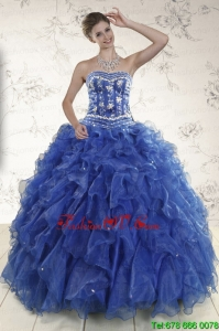 Pretty Beading and Ruffles 2015 Quinceanera Dresses in Royal Blue