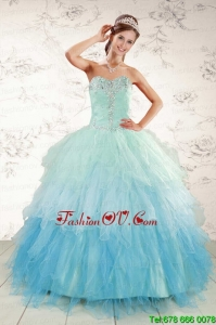 Pretty Multi Color 2015 Quinceanera Dresses with Beading and Ruffles