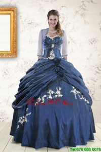 Pretty Sweetheart Navy Blue Quinceanera Dresses with Wraps