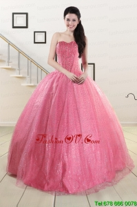 Pretty Sweetheart Sequins Quinceanera Dress in Rose Pink For 2015