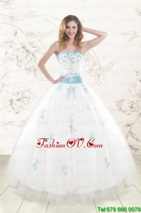 Pretty White Ball Gown Quinceanera Dresses with Appliques and Beading