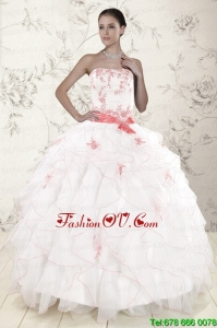 Pretty White Quinceanera Dresses with Pink Appliques and Ruffles
