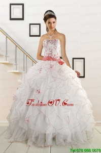 Sweetheart 2015 Elegant Sweet Sixteen Dresses with Appliques and Belt