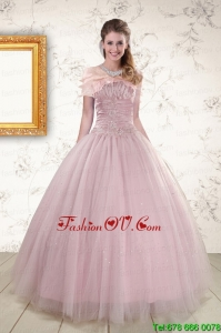 2015 Light Pink Strapless Elegant Sweet 16 Dresses with Appliques