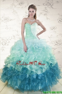 2015 Prefect Multi Color Sweet Sixteen Dresses with Beading and Ruffles