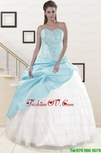 2015 Pretty Blue and White Sweet Sixteen Dresses with Beading and Pick Ups