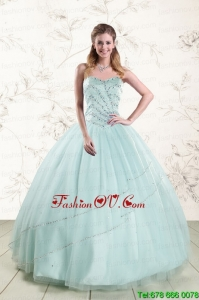 2015 Unique Apple Green Quinceanera Dresses with Reinstones