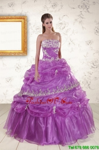 2015 Unique Strapless Lilac Quinceanera Dresses with Appliques