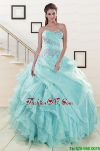 Beading and Ruffles Pretty Sweet Sixteen Dresses in Blue for 2015