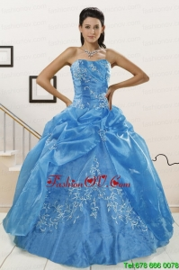 Classical Baby Blue 2015 Sweet Sixteen Dresses with Embroidery