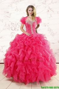 Hot Pink Ruffles and Beaded Wonderful Sweet Sixteen Dresses for 2015