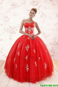 Most Popular Red Puffy Sweet Sixteen Dresses with Appliques