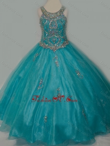 New Style Ball Gown Scoop Organza Long Lace Up Little Girl Pageant Dress with Beading
