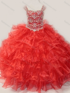 New Style Ball Gown Straps Organza Beaded Bodice Lace Up Little Girl Pageant Dress in Red