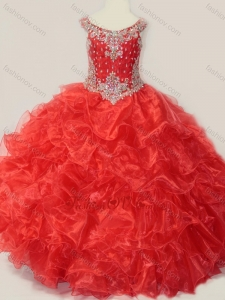 New Style Beaded and Ruffled Organza Little Girl Pageant Dress in Red