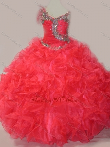 New Style CoraL Red Ball Gown V Neck Organza Beading Little Girl Pageant Dress with Lace Up