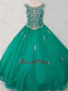 New Style Puffy Skirt Scoop Dark Green Little Girl Pageant Dress with Beading