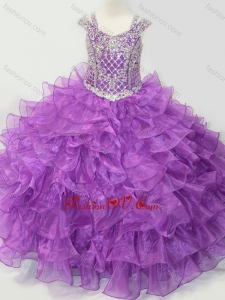 New Style Puffy Skirt V-neck Lace Up Little Girl Pageant Dress with Straps and Ruffled Layers