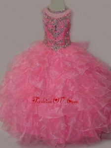 New Style Rose Pink Ball Gown Scoop Beaded Bodice Lace Up Little Girl Pageant Dress