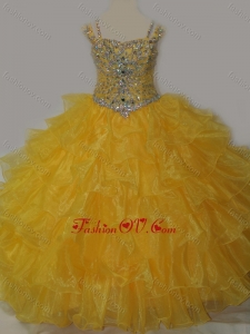 New Style Sweetheart Little Girl Pageant Dress with Spaghetti Straps in Yellow