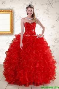 Pretty Ball Gown Sweetheart Red Sweet Sixteen Dresses with Beading