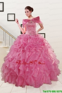 Puffy Sweetheart Pink Sweet Sixteen Dresses with Beading