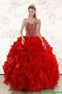 Sweetheart Pretty Red Sweet Sixteen Dresses With Beading and Ruffles for 2015