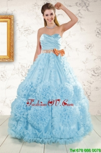 Unique Beading Aqua Blue 2015 Quinceanera Dresses