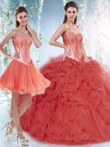 Beautifu Coral Red Detachable Sweet 16 Dresses with Beading and Ruffles